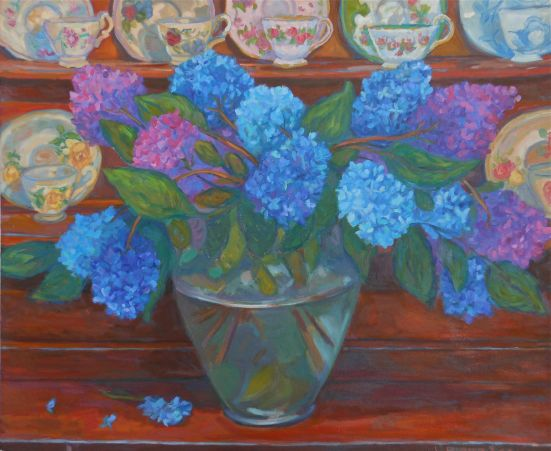 HYDRANGEAS AND TEACUPS OIL 30 X 28